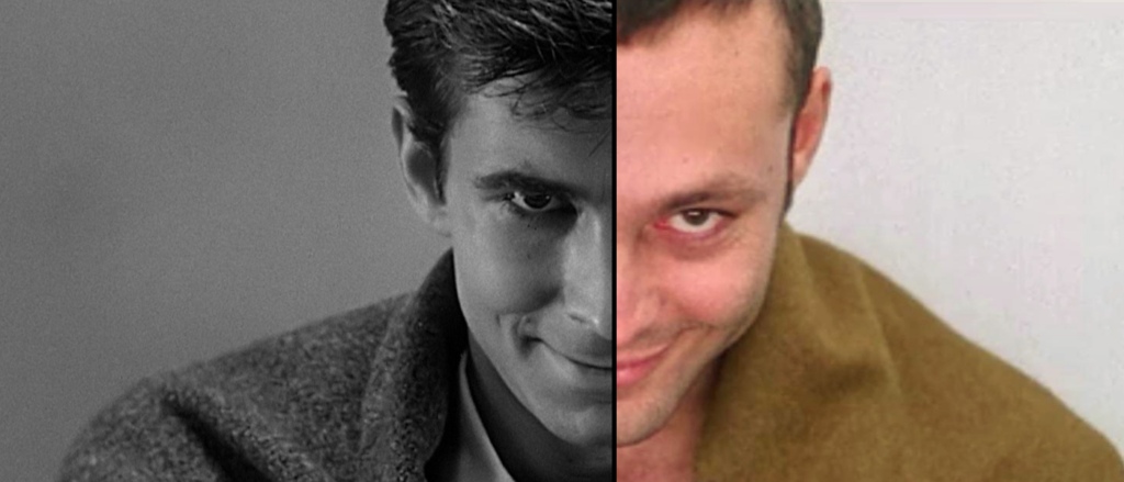Split image from the two versions of Psycho. Anthony Perkins and Vince Vaughn