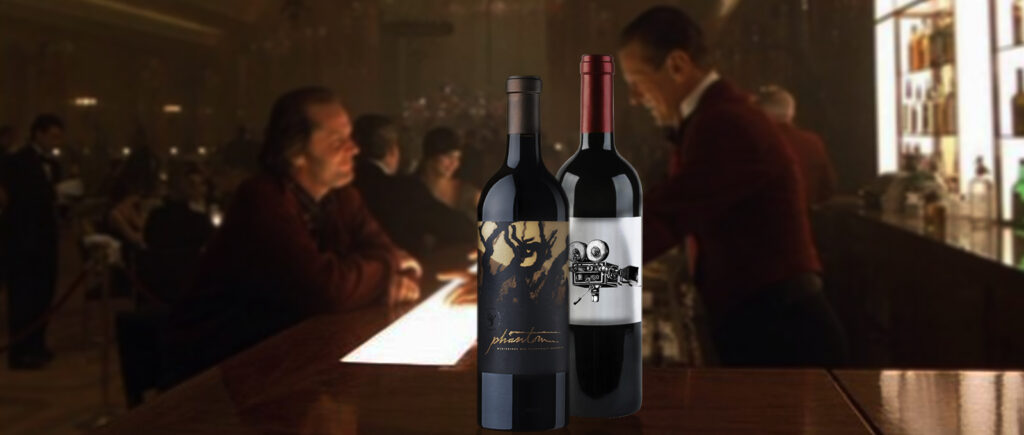 Image of the Screening Wine bottle placed in a still from the movie The Shining