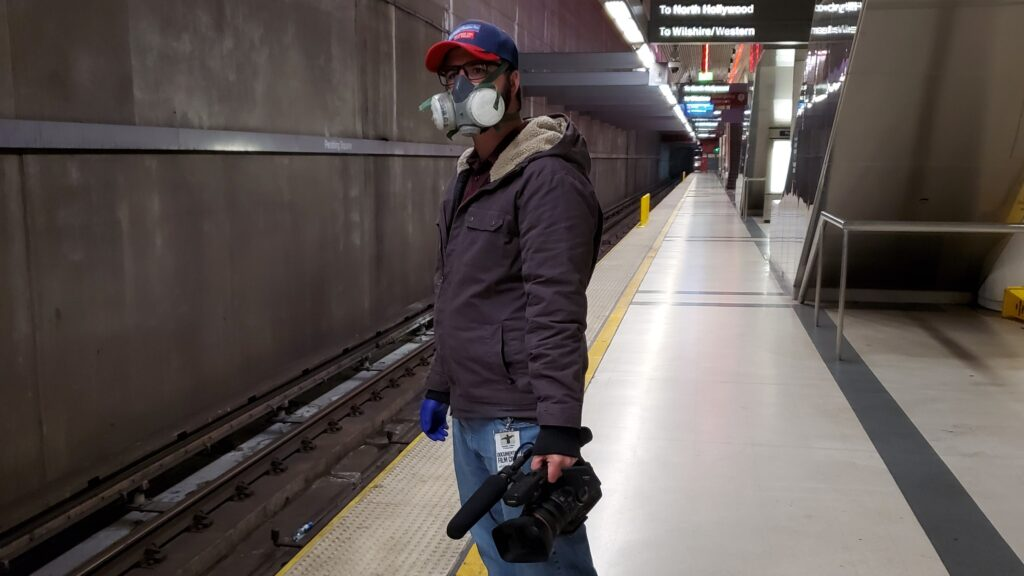 Filming the documentary Global Panic during the pandemic of 2020 on a subway platform in Los Angeles
